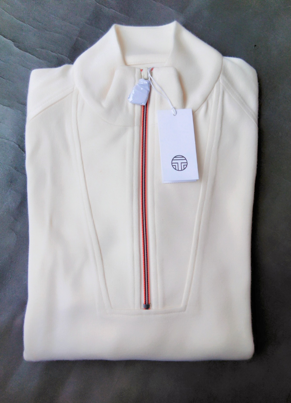 Tory Burch Brushed Knit Half Zip Sweater Ivory Pearl