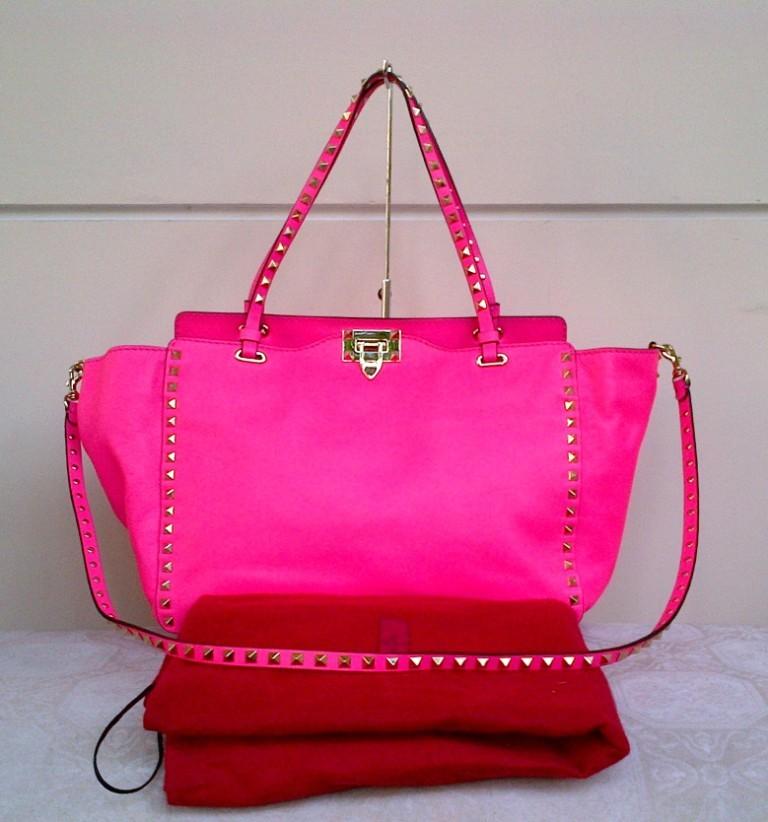 Valentino Rockstuds Tote Hot Pink