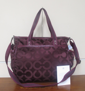 Coach Op ART Polished Twill Multi Use Baby Diaper Bag Tote F16975 Dark Merlot