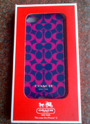 coach sig iphone 5 case navy-fuchsia