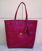 COACH Legacy Leather Turnlock Tote Deep Port/Brass