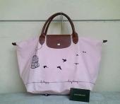 LongChamp Printed Medium Short Handle Oiseaux Pink