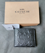 Coach Compact Id Signature Crossgrain Black