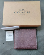 Coach Compact Id Crossgrain Leather Oxblood