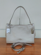 Coach Mia Metallic Pebble Shoulder Platinum