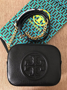 Tory Burch Bombe Logo Round Crossbody Black