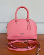 Coach Mini Sierra Crossgrain Satchel Coral