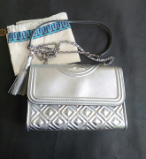 Tory Burch Fleming Metallic Small Convertible Silver