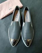 Miu Miu Leather Cap-toe Slip-on Sneakers Gray