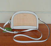 Kate Spade Reiley Straw Dome Crossbody Bright White
