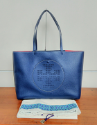 Tory Burch Perforated Logo Tote Royal Navy/Cherry Apple