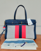 Tory Burch Canvas & Suede Satchel Natural/Navy